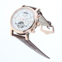 Patek Philippe Perpetual Calendar Tourbillon Automatic Rose Gold Case with White Dial-Leather Strap-1