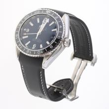 Omega Seamaster Co-Axial Working GMT Swiss CAL 8605 Movement Ceramic Bezel with Black Dial-Rubber Strap
