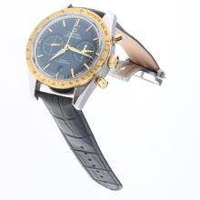 Omega Speedmaster Working Chronograph Swiss 9300 Automatic Movement Two Tone Case with Black Dial-Leather Strap-2