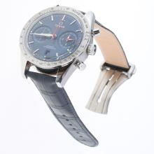 Omega Speedmaster Working Chronograph Swiss 9300 Automatic Movement with Blue Dial-Leather Strap
