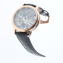 Patek Philippe Manual Winding Rose Gold Case with Skeleton Dial-Leather Strap