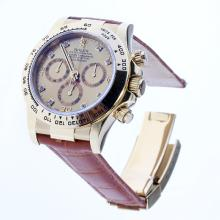 Rolex Daytona Swiss Calibre 4130 Chronograph Movement Gold Case Diamond Markers with Golden Dial-Leather Strap-1