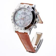 Rolex Daytona Swiss Calibre 4130 Chronograph Movement Roman Markers with MOP Dial-Leather Strap