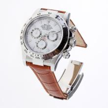 Rolex Daytona Swiss Calibre 4130 Chronograph Movement Stick Markers with White Dial-Leather Strap