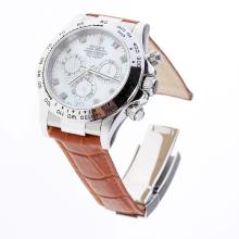 Rolex Daytona Swiss Calibre 4130 Chronograph Movement Diamond Markers with MOP Dial-Leather Strap