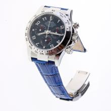 Rolex Daytona Swiss Calibre 4130 Chronograph Movement Number Markers with Blue Dial-Leather Strap