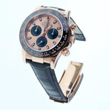 Rolex Daytona Swiss Calibre 4130 Chronograph Movement Rose Gold Case Ceramic Bezel Stick Markers with Champagne Dial-Leather Strap-1