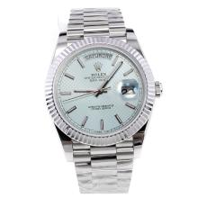 Rolex Day-Date II Swiss ETA 2836 18K Plated Gold Movement with Light Blue Dial S/S-1