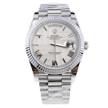 Rolex Day-Date II Swiss ETA 2836 18K Plated Gold Movement with White Dial S/S