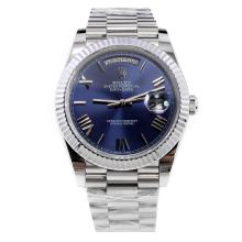 Rolex Day-Date II Swiss ETA 2836 18K Plated Gold Movement with Blue Dial S/S
