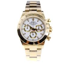 Rolex Daytona Swiss Calibre 4130 Chronograph Movement Full Gold Stick Markers with White Dial