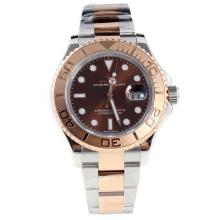 Rolex Yachtmaster Swiss Cal 3135 Movement Two Tone with Brown Dial