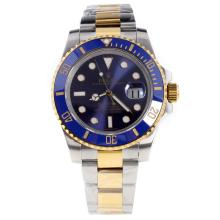Rolex Submariner Swiss Cal 3135 Movement Two Tone Ceramic Bezel with Blue Dial