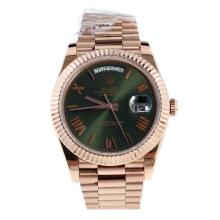 Rolex Day-Date II Swiss ETA 2836 18K Plated Gold Movement Full Rose Gold with Green Dial