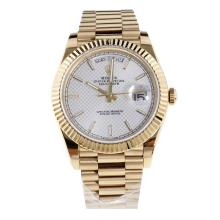 Rolex Day-Date II Swiss ETA 2836 18K Plated Gold Movement Full Gold with Silver Checkered Dial