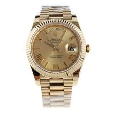 Rolex Day-Date II Swiss ETA 2836 18K Plated Gold Movement Full Gold with Golden Dial