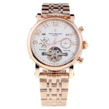 Patek Philippe Perpetual Calendar Tourbillon Automatic Full Rose Gold with White Dial-1