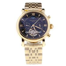 Patek Philippe Perpetual Calendar Tourbillon Automatic Full Gold with Black Dial