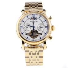 Patek Philippe Perpetual Calendar Tourbillon Automatic Full Gold with White Dial-1