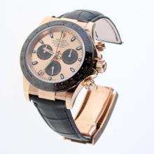 Rolex Daytona Swiss Calibre 4130 Chronograph Movement Rose Gold Case Ceramic Bezel Stick Markers with Champagne Dial-Leather Strap