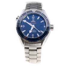 Omega Seamaster Swiss ETA 8500 Automatic Movement Ceramic Bezel with Blue Dial S/S