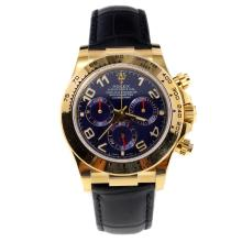 Rolex Daytona Swiss Calibre 4130 Chronograph Movement Gold Case Number Markers with Blue Dial-Leather Strap