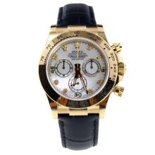 Rolex Daytona Swiss Calibre 4130 Chronograph Movement Gold Case Diamond Markers with MOP Dial-Leather Strap