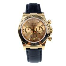 Rolex Daytona Swiss Calibre 4130 Chronograph Movement Gold Case Diamond Markers with Golden Dial-Leather Strap
