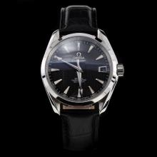 Omega Seamaster Swiss ETA 8500 Movement with Black Dial-Leather Strap