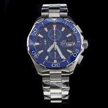 Tag Heuer Aquaracer Calibre 16 Working Chronograph Ceramic Bezel Stick Markers with Blue Dial S/S