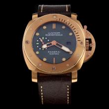 Panerai Luminor Submersible Swiss Calibre P.9000 Automatic Movement Rose Gold Case with Green Dial-Leather Strap