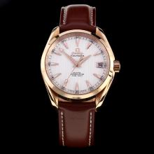 Omega Seamaster Swiss ETA 8500 Movement Rose Gold Case with White Dial-Leather Strap