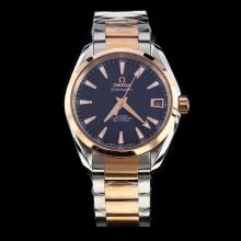 Omega Seamaster Swiss ETA 8500 Movement Two Tone with Black Dial