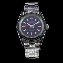 Rolex Milgauss Automatic Carved Case and Strap with Black Dial S/S