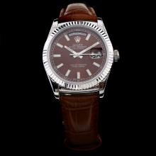Rolex Day-Date 3156 Automatic Movement Stick Markers with Brown Dial-Leather Strap