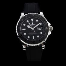 Rolex Yachtmaster Automatic Black Ceramic Bezel with Black Dial-Rubber Strap