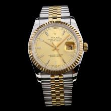 Rolex Datejust Swiss ETA 2836 Movement Two Tone with Golden Dial-Stick Marking