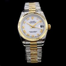 Rolex Datejust Swiss ETA 2836 Movement Two Tone Roman Markers with White Dial-Mid Size