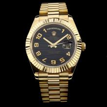 Rolex Day-Date II Swiss ETA 3156 Movement Full Gold Number Markers with Black Wave Dial