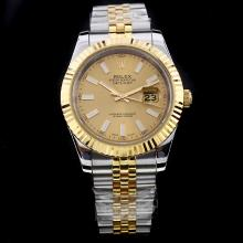 Rolex Datejust II Automatic Two Tone Stick Markers with Golden Dial