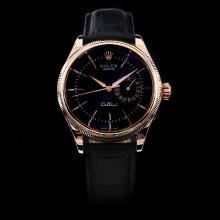 Rolex Cellini Automatic Rose Gold Case with Black Dial-Leather Strap