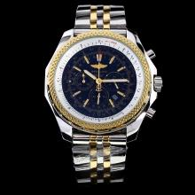 Breitling For Bentley Motors Working Chronograph Two Tone Rose gold with Black Dial-Stick Marking