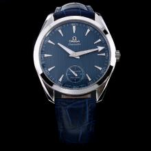 Omega Seamaster Aqua Terra Manual Winding with Blue Dial and Leather Strap