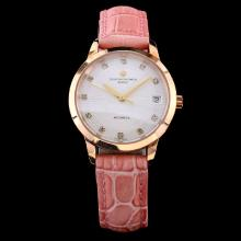 Vacheron Constantin Patrimony Swiss ETA 2671 Movement Rose Gold Case with White Dial-Pink Leather Strap