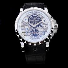Roger Dubuis Excalibur Tourbillon Automatic with White Dial-Leather Strap