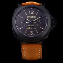Panerai Luminor Marina Working Power Reserve Automatic PVD Case with Brown Dial-Leather Strap