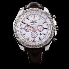Breitling Bentley Motors Chronograph Swiss Valjoux 7750 Movement Stick Markers with White Dial-Leather Strap