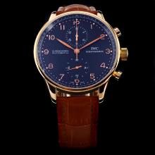 IWC Portuguese Chronograph Swiss Valjoux 7750 Movement Rose Gold Case with Black Dial-Leather Strap