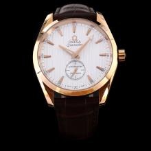 Omega Seamaster Aqua Terra Manual Winding Rose Gold Case with White Dial-Leather Strap