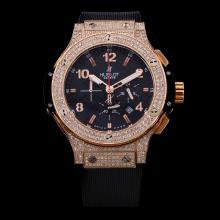 Hublot Big Bang Working Chronograph Rose Gold Diamond Case with Black Carbon Fibre Style Dial-Rubber Strap